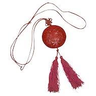 Art Deco Carved Red Cinnabar Asian Tassel Pendant Necklace