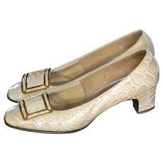 1960s Jacqueline Originals Witch Buckle Toe Embossed Crocodile Low Heel Shoes