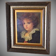 "Large 15"" Somber Child Classical Art Print in Dark Wood Frame"