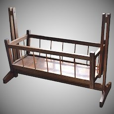 Large Primitive Spindle Style Wood Rocking Cradle for Doll