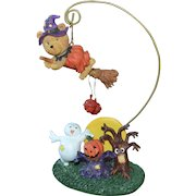 1980s Atico Halloween Witch Teddy Bear Hanger w/ Ghost, Haunted Tree & Jack-o-Lantern Decoration