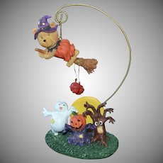 1980s Atico Halloween Witch Teddy Bear Hanger w/ Ghost, Haunted Tree & Jack-o-Lantern Decoration
