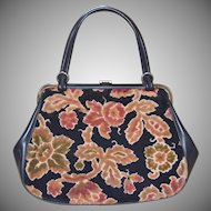 1960s Dove Signed Big Black Tapestry Carpet Style Handbag Purse
