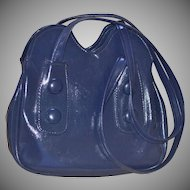 1960s Big Button Navy Blue Faux Leather Mod Style Purse