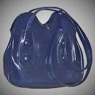 1960s Big Button Navy Blue Faux Leather Mod Style Purse