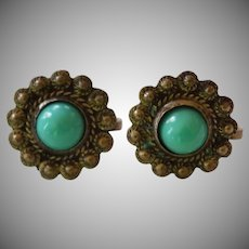 Sterling Silver Turquoise Daisy Flower Screwback Earrings Mexico