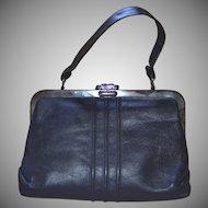 1960s Margold Signed Black Leather Gunmetal Frame & Clasp Handbag Purse