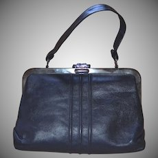 1960s Margold Signed Black Leather Gunmetal Frame & Clasp Handbag Purse