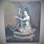 Original Signed Guan Yin 'Goddess of Mercy' Playing Harp Asian Deity Oil Painting
