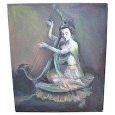 Original Signed Guan Yin 'Goddess of Mercy' Playing Harp Asian Deity Oil Painting