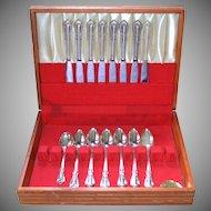 1958 Oneida W. A. Rogers 16-Pc 'Chalice-Harmony' Silverplate Dinner Knife, Soup Spoon, Sugar Spoon & Box