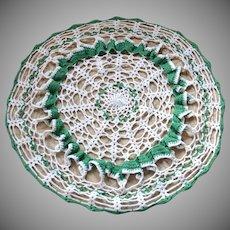 """Ruffled 17"""" Large Green & White Handmade Crochet Doily"""