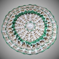 "Ruffled 17"" Large Green & White Handmade Crochet Doily"