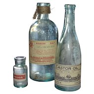 Set of 3 Halloween Apothecary Labeled Vintage Blue Bottles