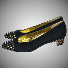 Donald J. Pliner Black Suede & Metallic Gold Leather Low Heel Pumps ~ Size 6.5 Spain