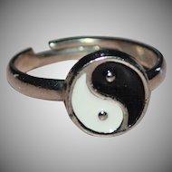 Black & White Enamel Yin Yang Adjustable Silvertone Ring