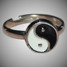 Black & White Enamel Yin Yang Adjustable Silvertone Ring