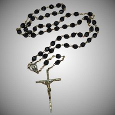 Old Bronze Christ Crucifix Cross Black Glass Bead Rosary Necklace
