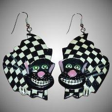 Large Funky Artisan Cheshire Cat 'Alice in Wonderland' Wood Dangle Earrings