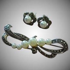 Sterling Silver Marcasite & Pearl Bow Pin/Brooch & Earrings Set