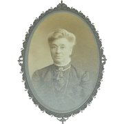 Dignified Older Victorian Lady in Black Fashion Cabinet Card