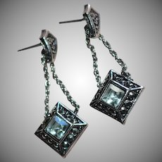 Avon Signed Rhinestone Drop Silvertone Rope Chain Earrings