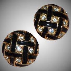 Roman Signed Black Enamel & Rhinestone Dome Earrings