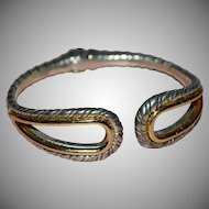 Brighton Signed Silvertone with Gold Accents Hinged Bangle Bracelet