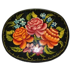Russian Black Lacquer Wood Hand-Painted Red & Pink Rose Pin/Brooch