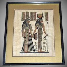 """Egyptian Goddess Isis & Queen Nefertari 19"""" Papyrus Art Painting in Black Wood Frame"""