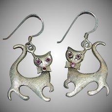Sterling Silver Ruby Eye Kitty Cat Dangle Earrings