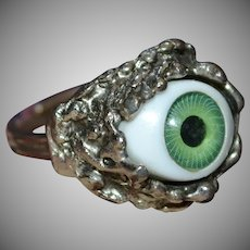 Creepy Green Glass Eye Adjustable Silvertone Ring