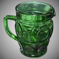 Wheaton Bullseye Circle Block Emerald Green Glass Creamer or Small Pitcher
