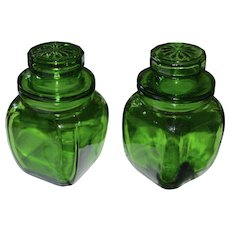 Set of 2 Westmoreland Doll Size Miniature Green Glass Candy Jars
