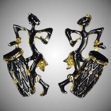 1960s Large Black Enamel African Native w/ Drum Pierced Earrings