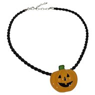 Flying Colors Halloween Jack-o-Lantern Pumpkin Ceramic Pendant w/ Black Cord Necklace