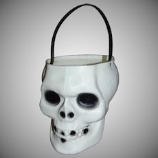 Empire Blow Mold Skeleton Skull Halloween Candy Pail Bucket