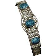 1930s Sterling Silver Blue Faience Scarab Egyptian Inspired Filigree Bracelet