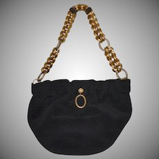 Morris Moskowitz Black Velour Purse w/ Chunky Chain Straps
