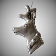 Large Pewter Reindeer Head Christmas Ornament