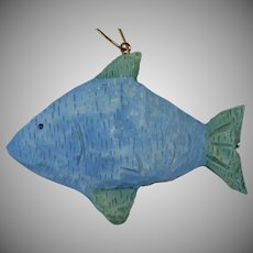 Big Blue Fish Christmas Ornament