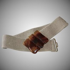 Brown Tortoise Lucite Buckle w/ Hippie Hemp Style Woven Stretch Fabric Belt