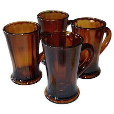 Set of 4 Deep Orange-Brown Thick & Heavy Glass Handle Mugs
