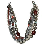 Aloria Signed Chunky Multi-Strand Stone, Metal, Glass, Coral Bead Necklace