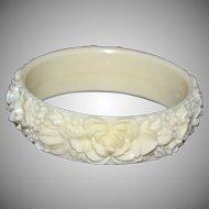 Cream Celluloid Carved Rose Flower Bangle Bracelet