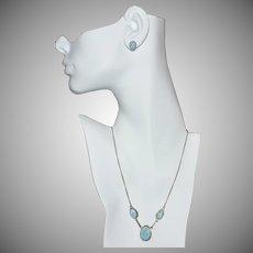 Sterling Silver Blue Larimar Triple Stone Necklace & Post Earrings Set