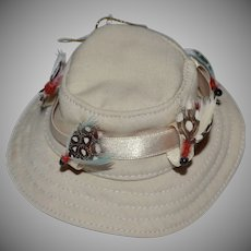 Fabric Fishing Hat w/ Feather Lure Christmas Ornament