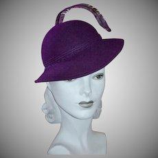 Bellini Designer Deep Purple Wool Hat w/ Long Single Feather