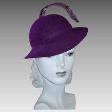 Bellini Designer Deep Purple Wool Hat w/ Long Single Feather
