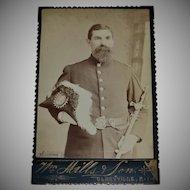 Identified Masonic Man w/ Plume Hat & Scepter Freemason Shriner Cabinet Card Photo